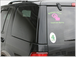 Ribbon Chix back glass decal
